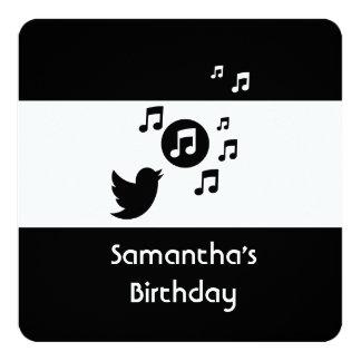 "Stylish Songbird Black and White Birthday 5.25"" Square Invitation Card"