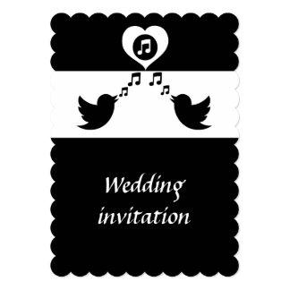 "Stylish Songbird Black and White Wedding 5"" X 7"" Invitation Card"