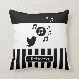 Stylish Songbird Black White Personalized Stripes Throw Pillow