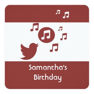 "Stylish Songbird music note  Birthday Party 5.25"" Square Invitation Card"
