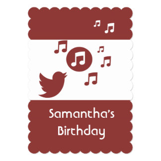 Stylish Songbird music note  Birthday Party Card