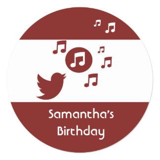 Stylish Songbird music note  Birthday Party Custom Invitation