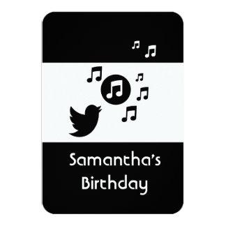"Stylish Songbird music note  Birthday Party 3.5"" X 5"" Invitation Card"