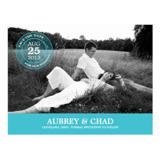 Stylish Stamp Save The Date Postcard (Turquoise)