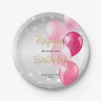Stylish Starry Happy Birthday and Pink Balloons Paper Plate