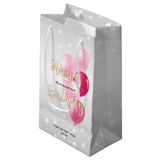 Stylish Starry Happy Birthday and Pink Balloons Small Gift Bag