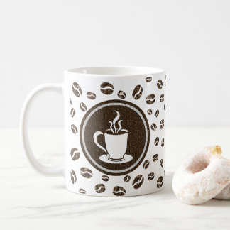 Stylish Steaming Cup and Coffee Beans Pattern Mug
