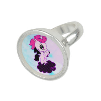 Stylish Sterling Silver Plated Pink Unicorn Ring