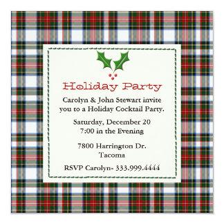 Stylish Stewart Dress Tartan Custom Holiday Party Card