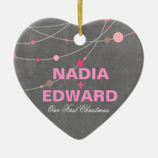 Stylish Strands | chalkboard pink Photo Ceramic Ornament