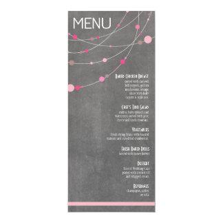 "Stylish Strands Menu | chalkboard pink 4"" X 9.25"" Invitation Card"