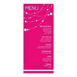 "Stylish Strands Wedding Menu | fuschia 4"" X 9.25"" Invitation Card"