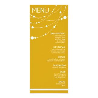 "Stylish Strands Wedding Menu | yellow 4"" X 9.25"" Invitation Card"