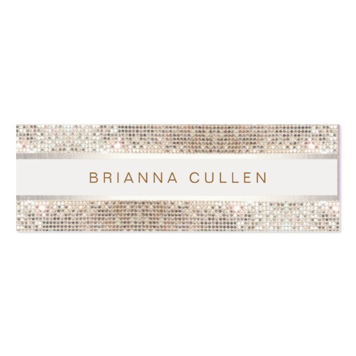 Stylish Striped FAUX Silver Sequin Elegant Modern Business Card Templates