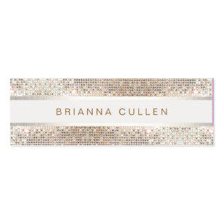 Stylish Striped FAUX Silver Sequin Elegant Modern Pack Of Skinny Business Cards