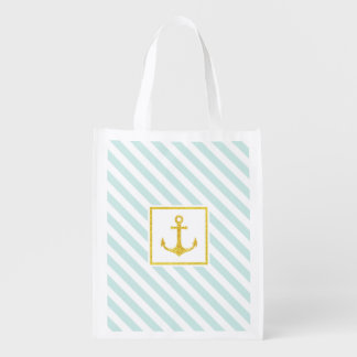 Stylish Striped Pattern Golden Faux Glitter Anchor Reusable Grocery Bag
