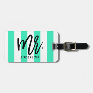 Stylish Stripes and Typography Bag Tag