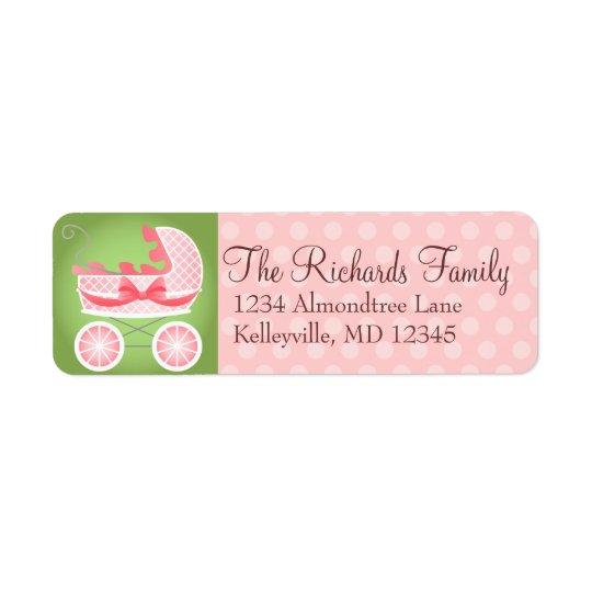 Stylish Stroller Pink White & Green Return Address Label
