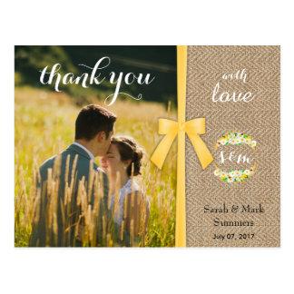 Stylish Summer Wedding Thank You Postcard