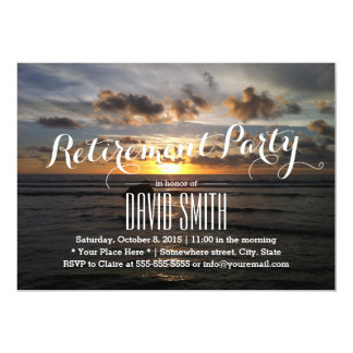 "Stylish Sunset Beach Retirement Party 5"" X 7"" Invitation Card"