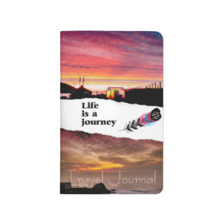 Stylish sunset travel journal