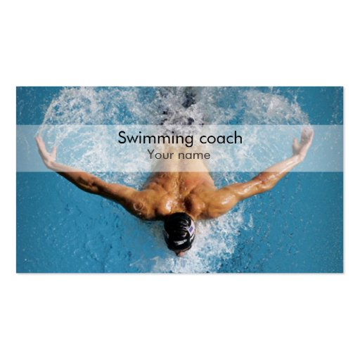 Stylish swimming coach business card