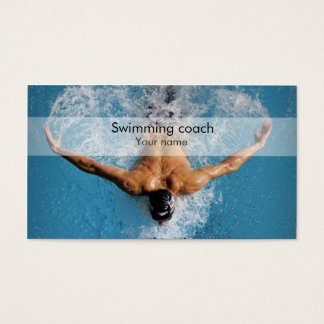 Stylish swimming coach business card