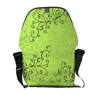 Stylish Swirl Custom Monogram Green Commuter Bag
