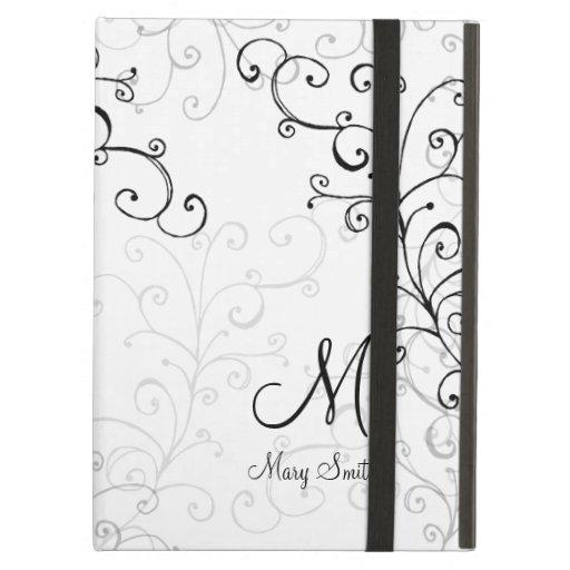 Stylish Swirl Custom Monogram iPad Covers