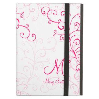 Stylish Swirl Custom Monogram Pink iPad Air Case