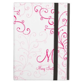 Stylish Swirl Custom Monogram Pink iPad Cases