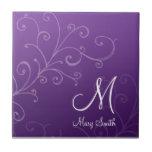 Stylish Swirl Custom Monogram Purple