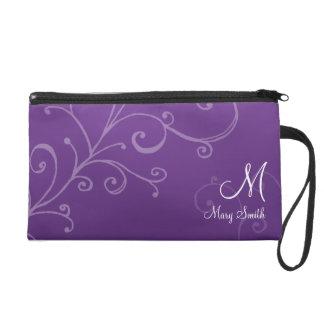Stylish Swirl Custom Monogram Purple Wristlet