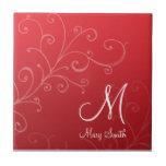 Stylish Swirl Custom Monogram Red