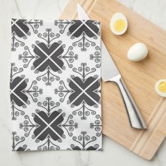 Stylish Swirls Pattern Black And White Towels