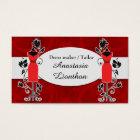 Stylish Tailor Dressmaker red Business Card