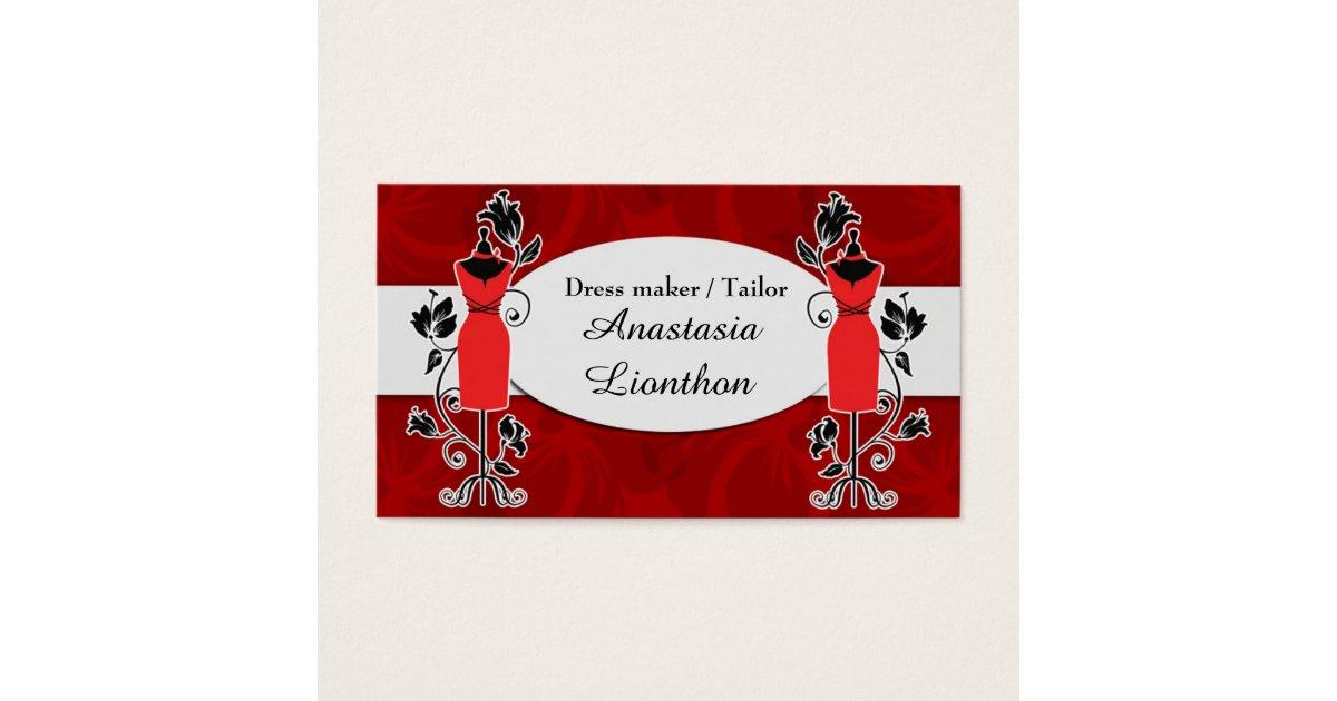 Stylish Tailor Dressmaker red Business Card   Zazzle.ca