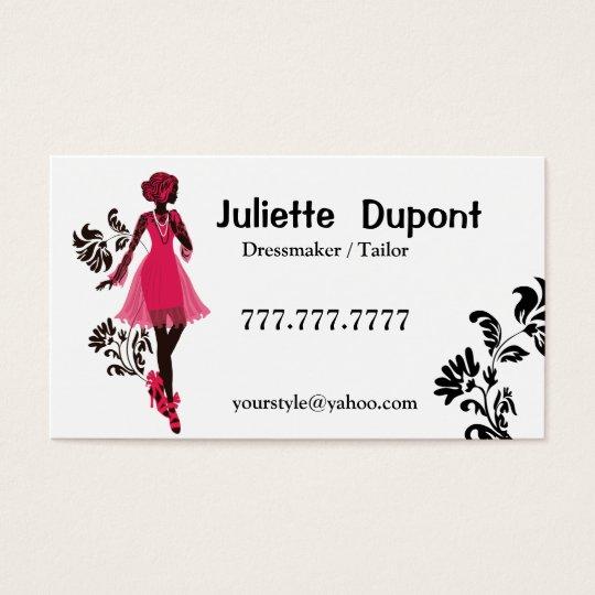 Stylish Tailor Dressmaker white Business Card