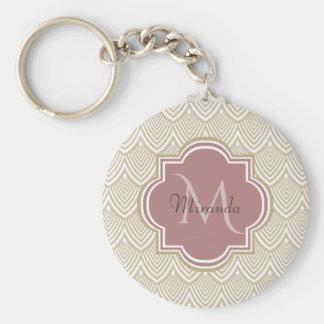 Stylish Tan Arched Scallops Mauve Monogram Name Keychain