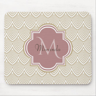 Stylish Tan Arched Scallops Mauve Monogram Name Mouse Pad