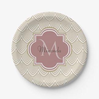Stylish Tan Arched Scallops Mauve Monogram Name Paper Plate