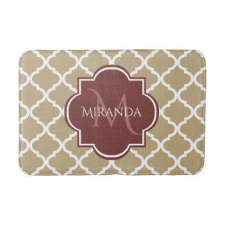 Stylish Tan Quatrefoil Burgundy Monogram and Name Bath Mat