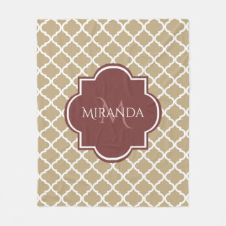 Stylish Tan Quatrefoil Burgundy Monogram and Name Fleece Blanket