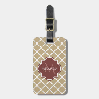 Stylish Tan Quatrefoil Burgundy Monogram and Name Luggage Tag