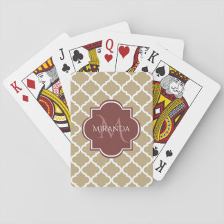 Stylish Tan Quatrefoil Burgundy Monogram and Name Playing Cards