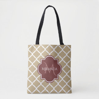 Stylish Tan Quatrefoil Burgundy Monogram and Name Tote Bag