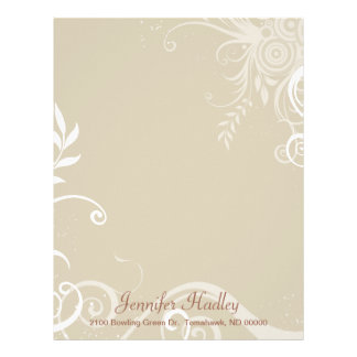 Stylish Tan & White Custom Letterhead Stationery