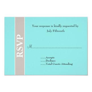 Stylish Taupe and Aqua Blue Wedding RSVP Card