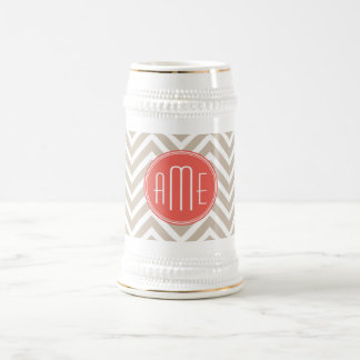Stylish Taupe and Coral Custom Monogram 18 Oz Beer Stein