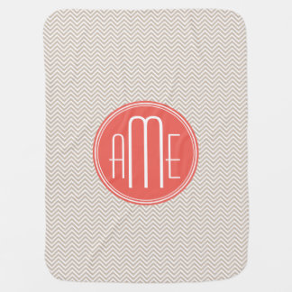 Stylish Taupe and Coral Custom Monogram Baby Blankets